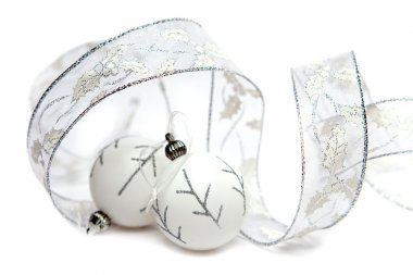 White New Year's balls and decorative tape on a white background