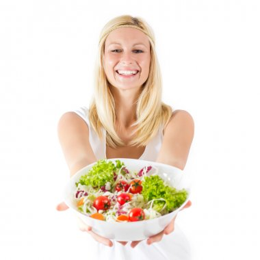Happy young woman holding bowl with healthy fresh food . stock vector