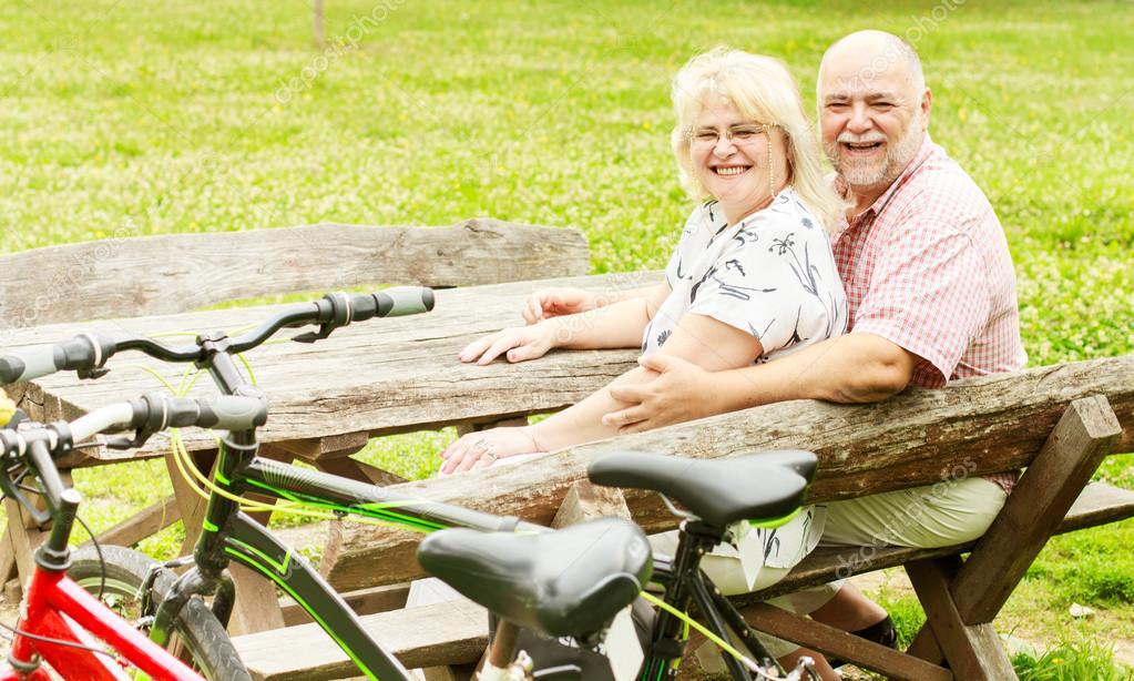 happy elderly couple relaxing