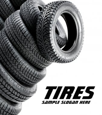 Tires on the white background