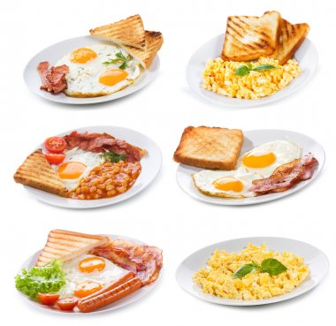 Set with various plates of fried and scrambled eggs on white background stock vector