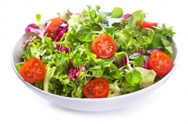 Salad with vegetables and greens on white background stock vector