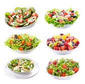 Sada s různými saláty