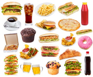 Set with fast food products on white background stock vector
