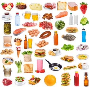 Food collection on white background stock vector