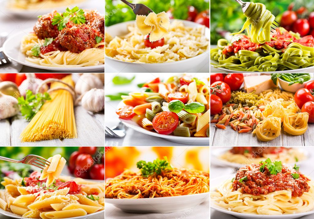 Collage with different pasta