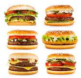 Fotografie sada různých hamburgery