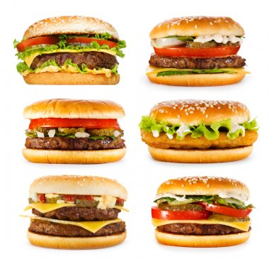 set of various hamburgers