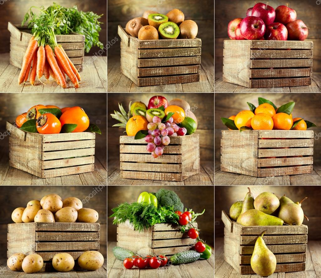 collage of various fruits and vegetables