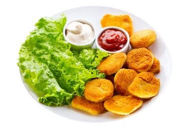 Plate of chicken nuggets isolated on white background stock vector