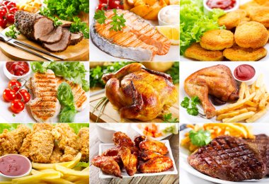 various meals with meat, fish and chicken