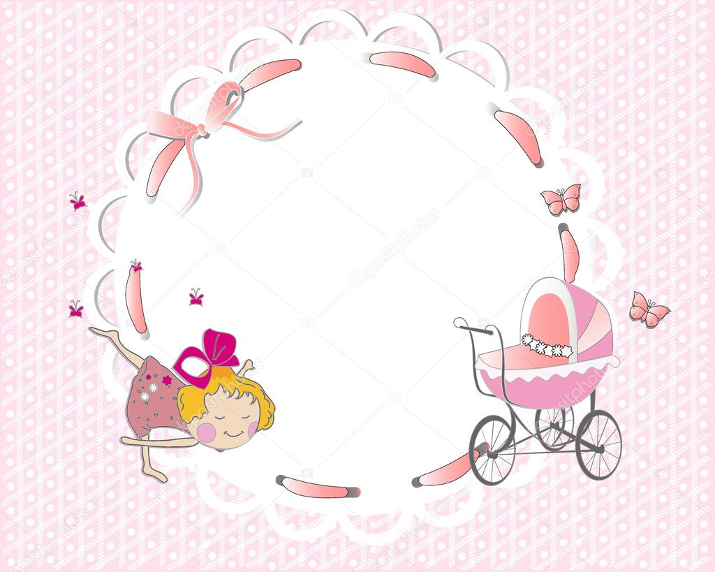 Baby girl frame with a cute girl and a pink ribbon — Stock Vector ...