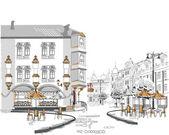 A vázlatok, a gyönyörű régi város nézetek kávézók sorozat