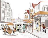 řada ulic s kaváren ve starém městě