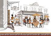 série pouličních kaváren ve starém městě