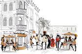 série pouličních kaváren ve starém městě s lidmi