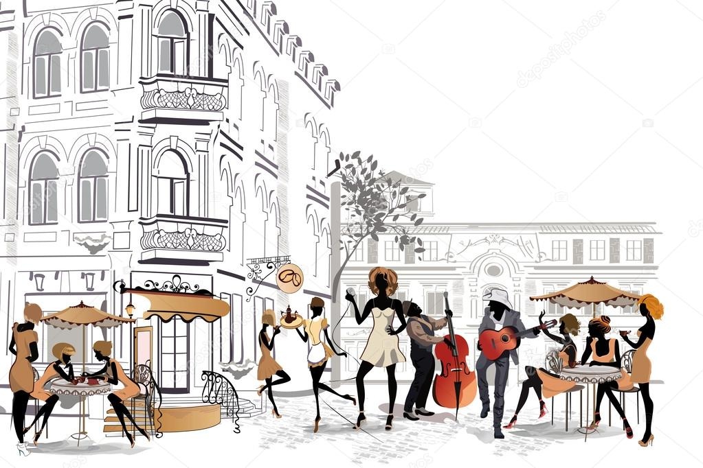 Series of street cafes in the old city with people