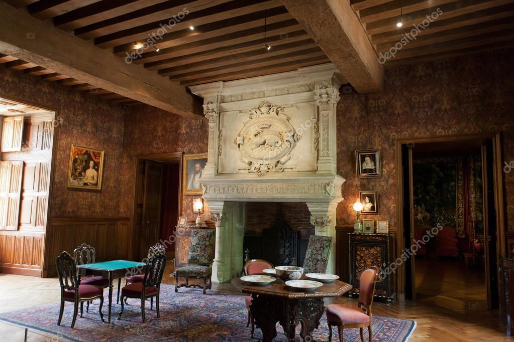 Interieur decoratie in kasteel van azay le rideau loire frankrijk redactionele stockfoto - Foto interieur decoratie ...