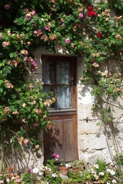 Cottage with roses around door stock vector