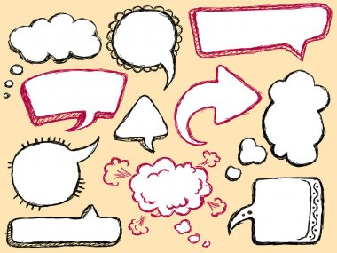 Hand Drawn Speech And Thought Bubble clip art vector