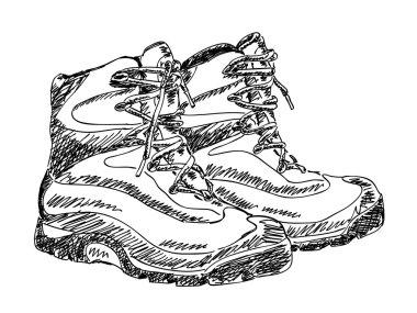 Hand drawn hiking boot