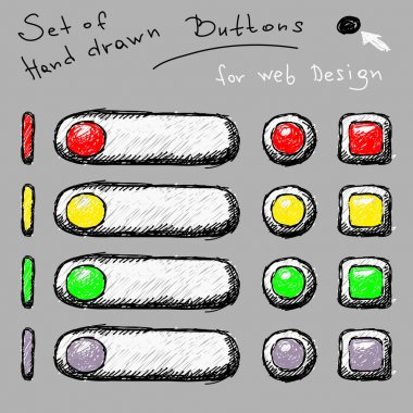 Set of hand drawn buttons Vector