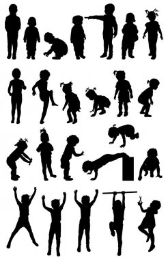different children silhouette