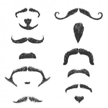 Hand drawn moustache set