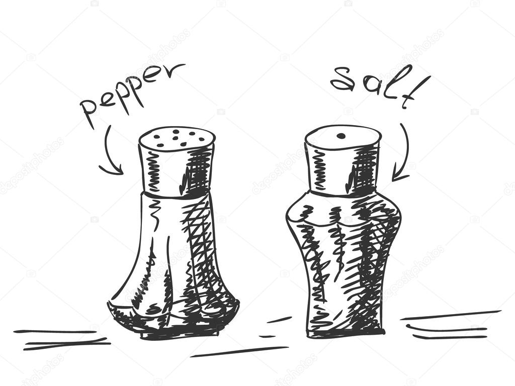 Pepper shaker drawing | Hand drawn salt and pepper shakers ...