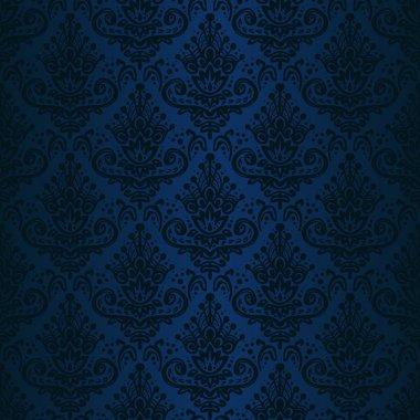 Hand drawn seamless dark blue damask background