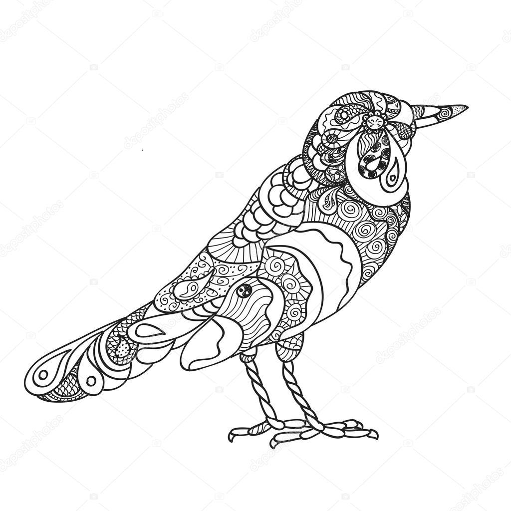 Ręcznie Rysowane Ozdobny Ptak Szablon Grafika Wektorowa