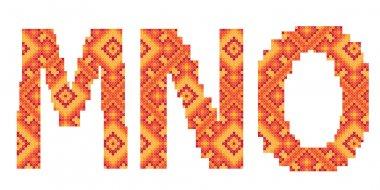 Cross-stitch folk ornament letters M N O
