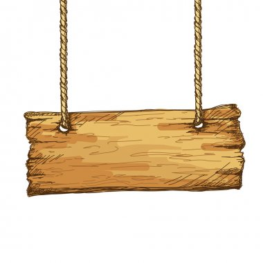 Hand drawn wooden sign board hanging on rope