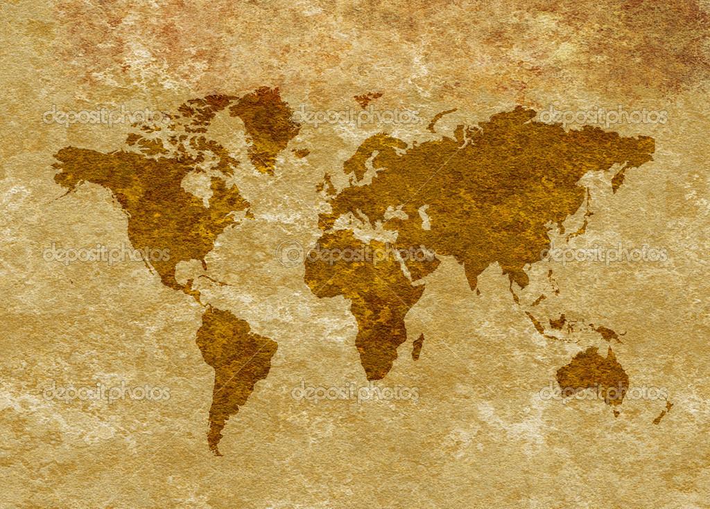 Carte Du Monde Parchemin carte du monde antique grunge sur parchemin — photographie