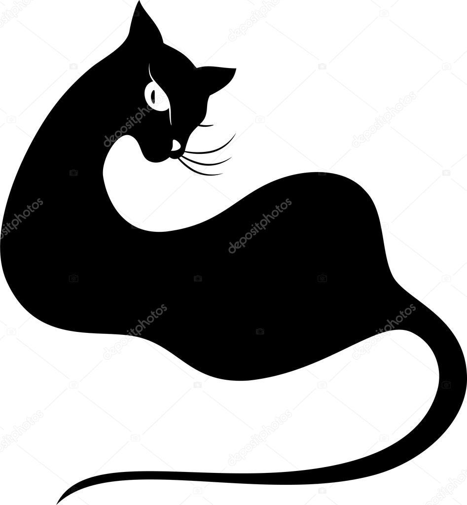 Black cat. Silhouette