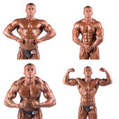 Bodybuilders flexing