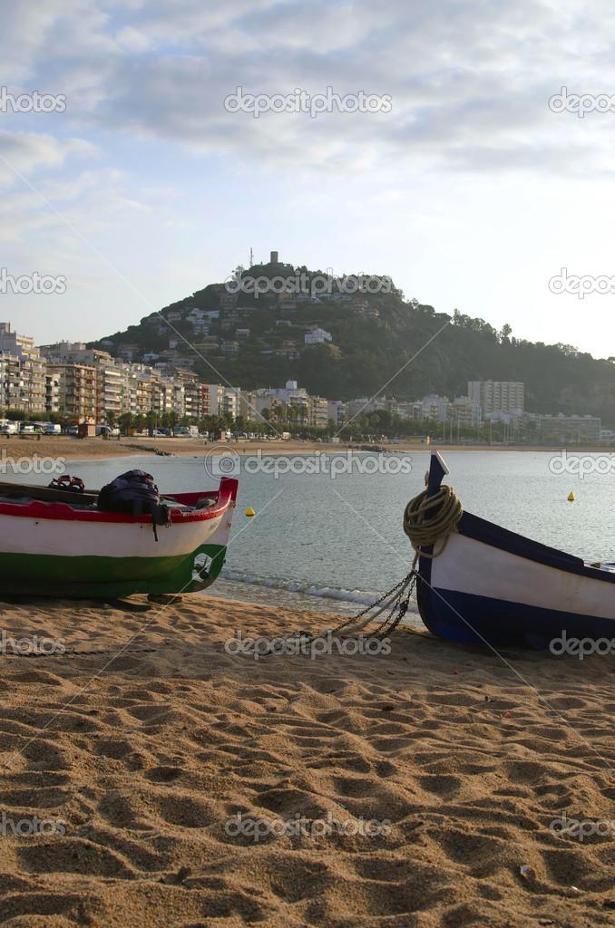 Dawn on Spanish beach. Blanes