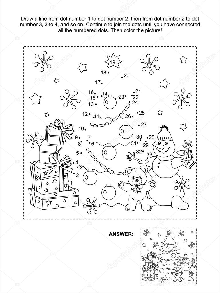 Placemat Kerst Kleurplaat P 225 Gina De Atividade De Ponto A Ponto Vetor De Stock