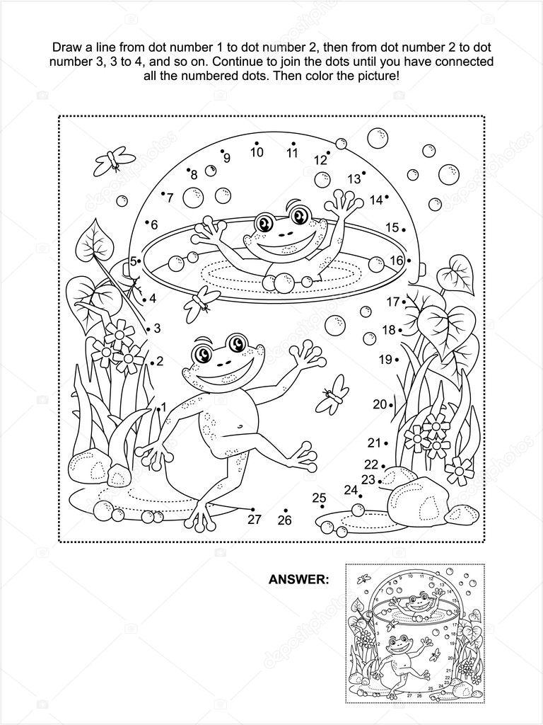 Punkt-zu-Punkt und coloring Seite mit glücklich Frösche ...