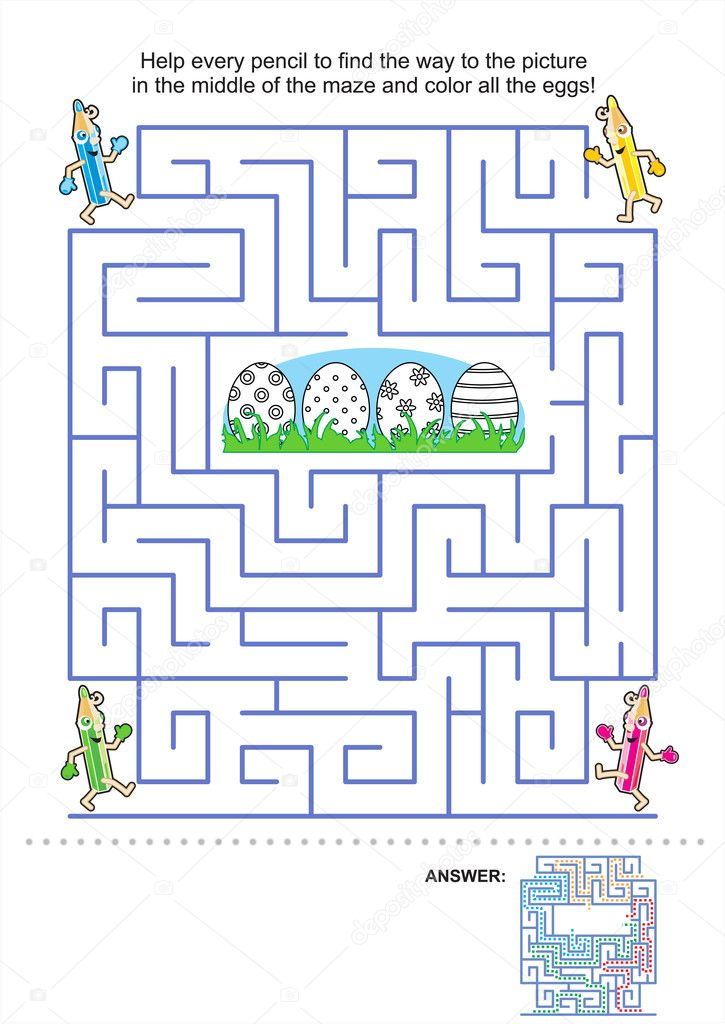 Maze game and coloring page for kids — Stock Vector © ratselmeister ...