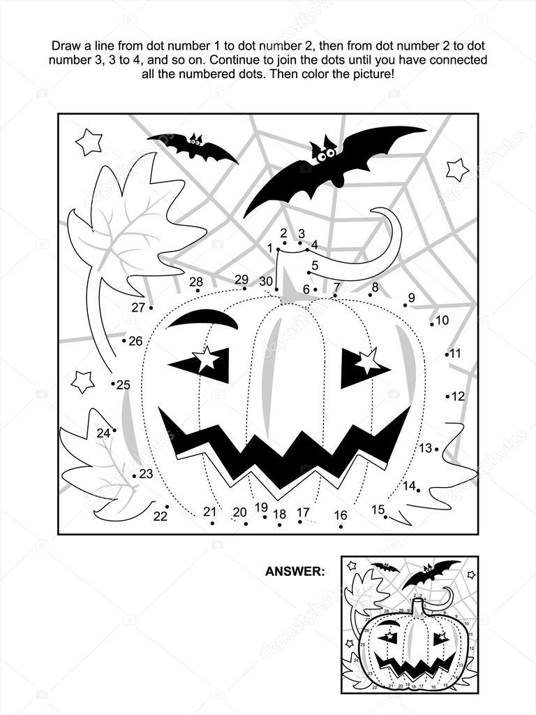 Página para colorear y punto-a-punto - de calabaza de halloween ...