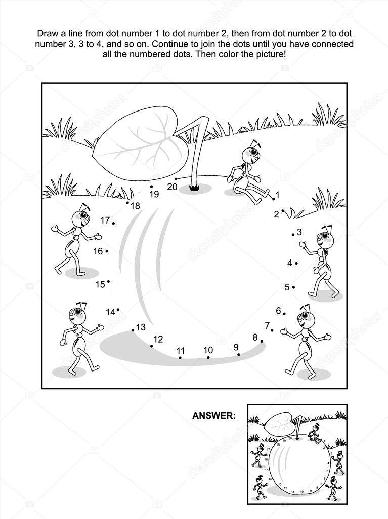 Punkt-zu-Punkt und coloring Page - Apfel und Ameisen — Stockvektor ...
