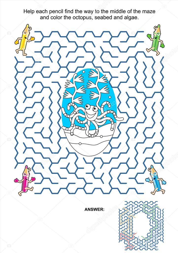 Página para colorear y juego laberinto - lápices y pulpo — Vector de ...
