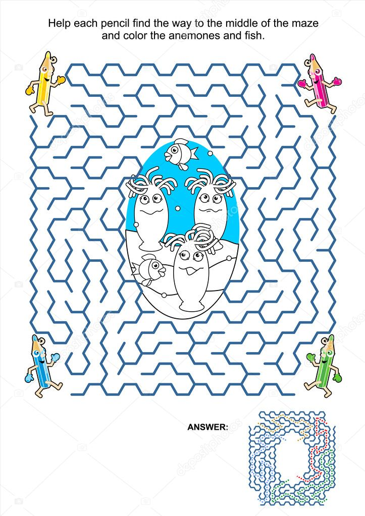 Labirinto Gioco E Disegni Da Colorare Pagina Anemoni E Pesci