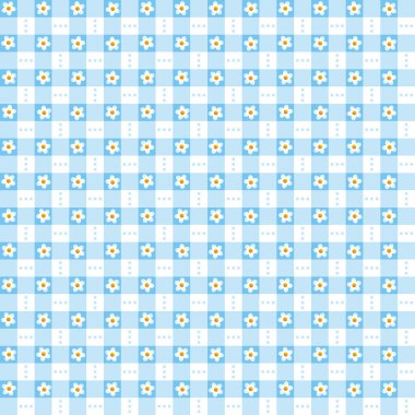 Seamless blue floral gingham background