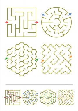 Four maze games with answers