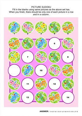 Picture sudoku puzzle with butterflies