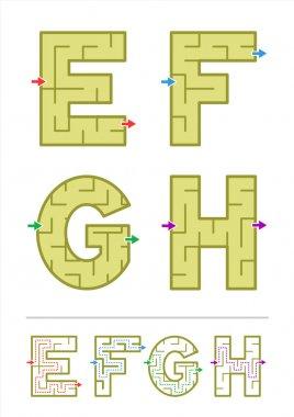 Alphabet maze games E, F, G, H