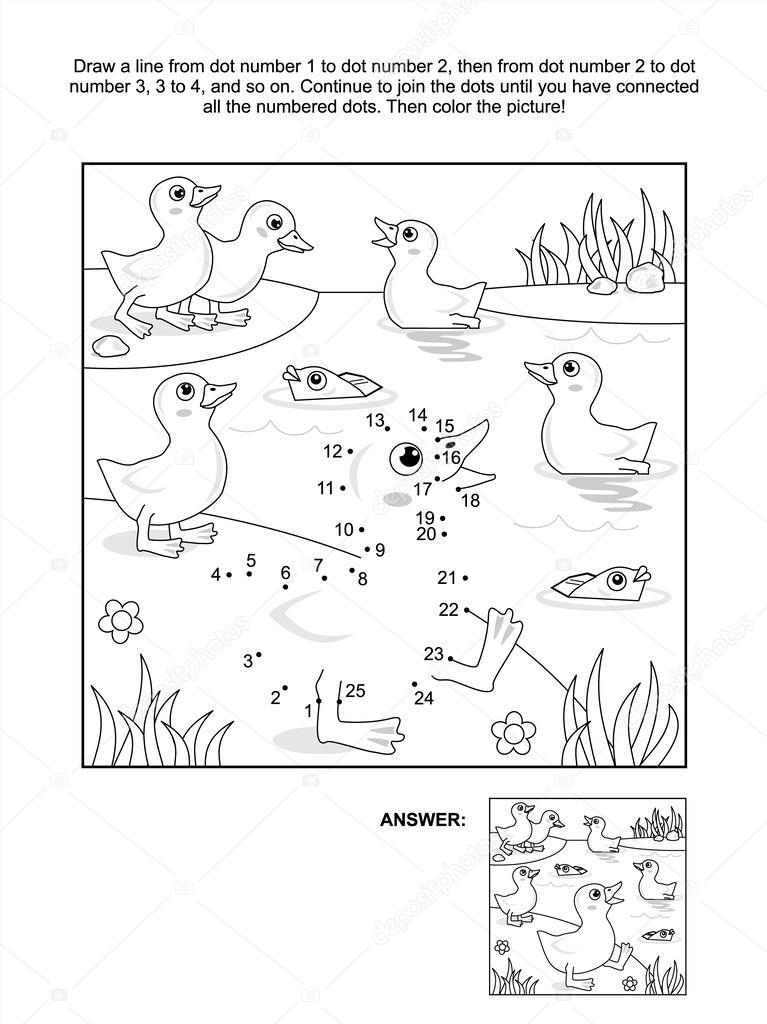 punto-a-punto y colorear página - patitos en la Laguna — Vector de ...