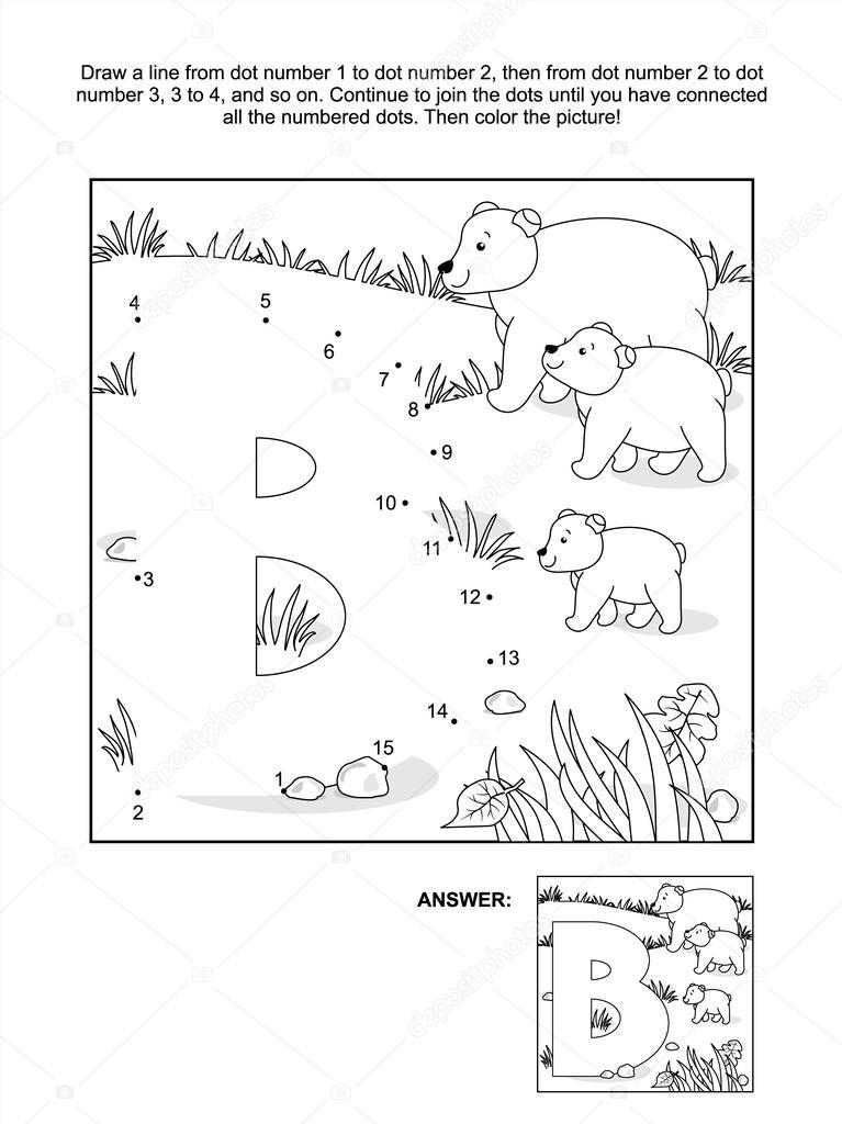 Página para colorear y punto-a-punto - letra b, osos — Archivo ...